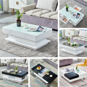 Details About Modern High Gloss Coffee Tables End Side Table 2 Drawers Living Room Whiteblack