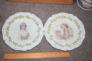 Antique-Pair-Porcelain-Portrait-Plates-French-Porcelain-HAND-PAINTED-BEAUTIFUL