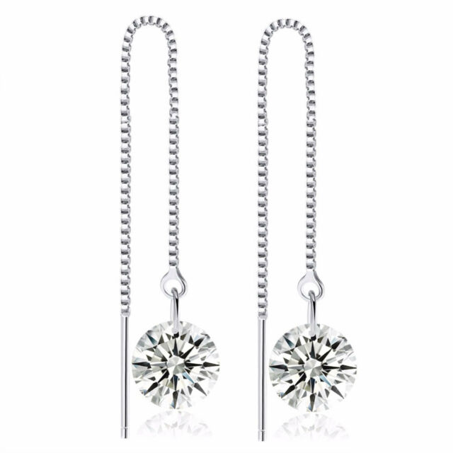 Elegant Women Crystal Cubic Zirconia Drop Long Dangle Earrings Threader Ear Line