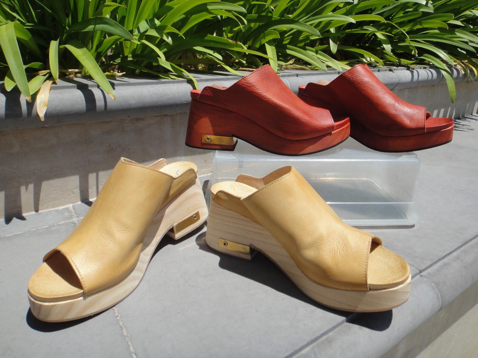 Free People ORANGE MOON  Wood Clog, Aurora Rosso or Sand Leather & Sz EUR36 or 38