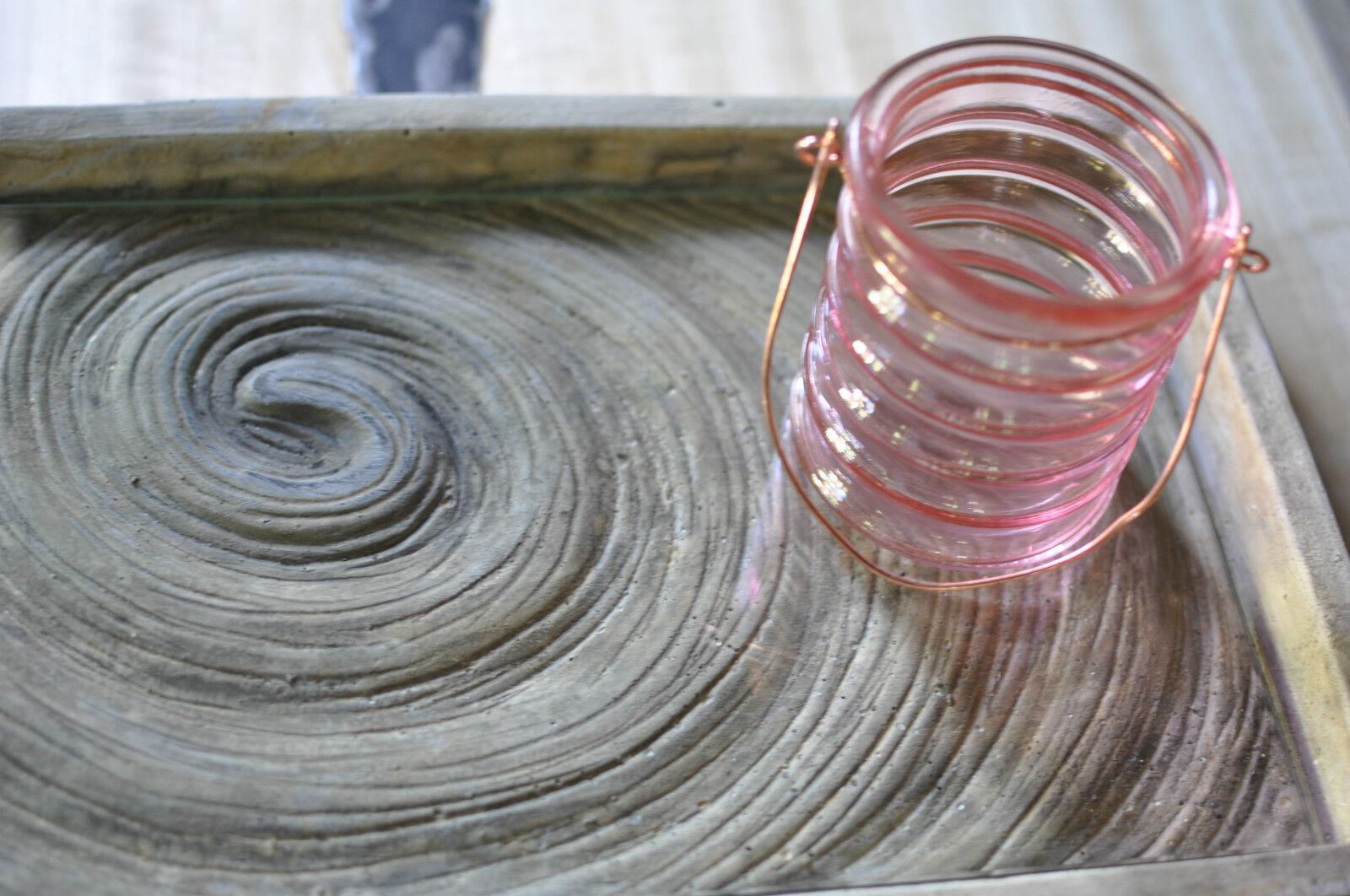 1x 1x 1x Tablett für Kerze Vase Deco Grau Zement Relief mit Glas 38 x 23 cm von PTMD | Realistisch  9d594b