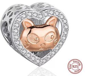 Katze-rose-gold-Herzanhaenger-Glanz-echt-925-echt-Sterling-Silber-Charm-Pfote