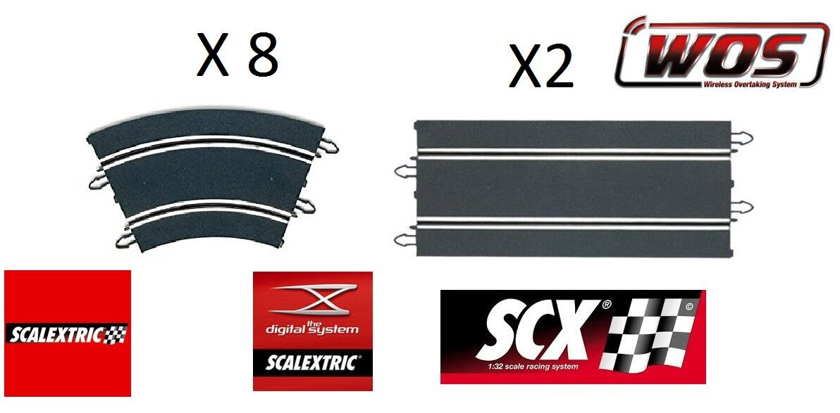 SCX 8 CURVES + 2 STRAIGHT SCALEXTRIC FOR NEW RUNWAY, 1 32 DIGITALISABLE