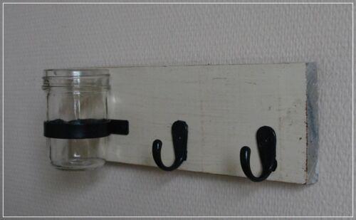 Kleine Hakenleiste mit Vase das Holz Altweiß im Shabby Chic von Impressionen NEU