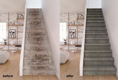 stair cladding-slip resistant superior quality laminate light grey stone effect