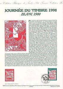 Document-Philatelique-Timbre-1er-Jour-21-02-1998-Journee-du-Timbre-Blanc