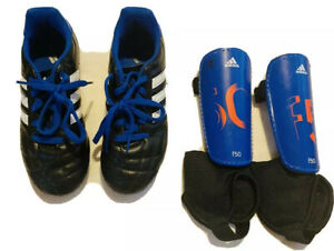 Enfants Bébé Garçons Unisexe Adidas Soccer Crampons NOIR BLEU SZ 1 & Shin Guard Sz M