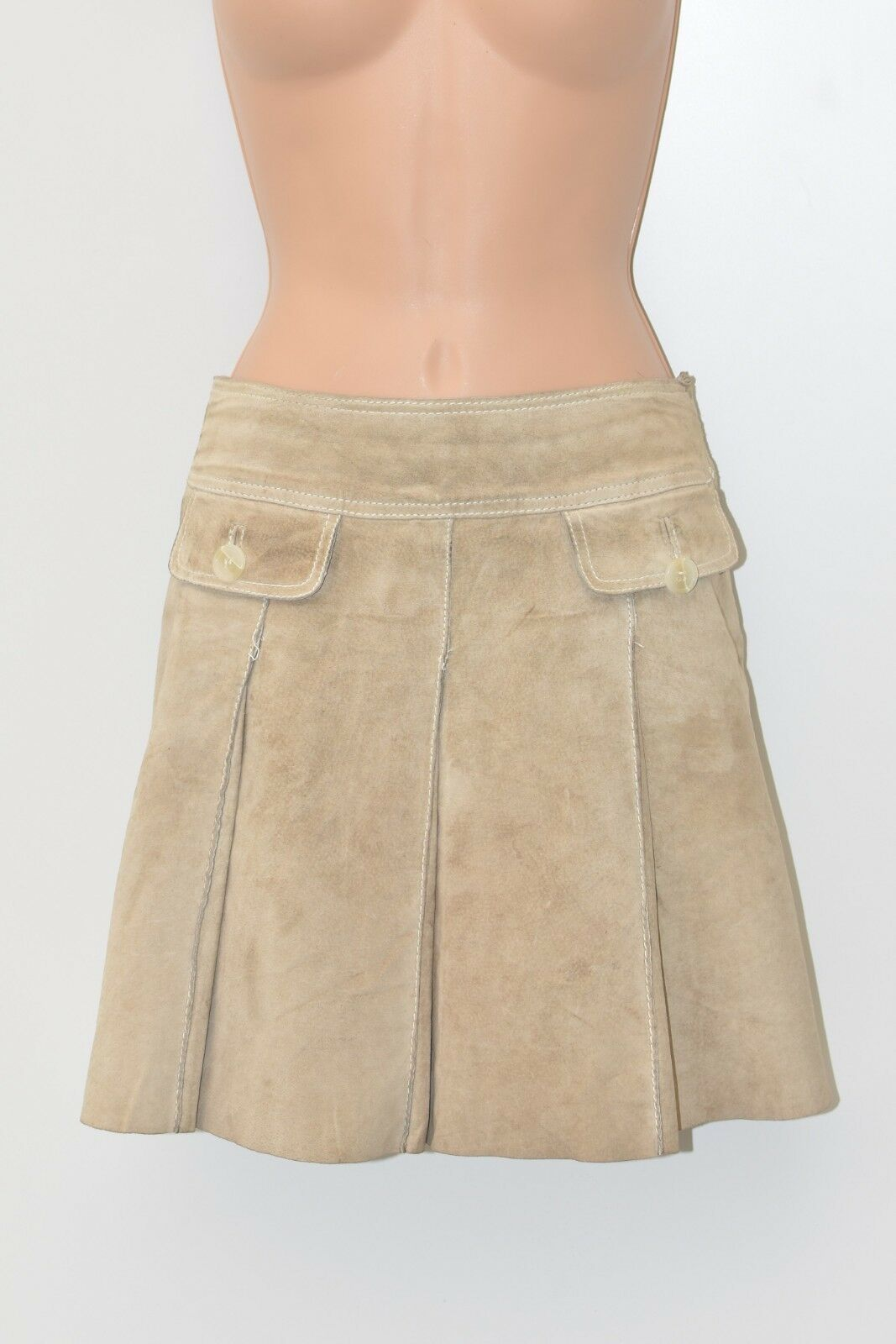 Brown Real Leather HALLHUBER Pleated Above Knee Skirt Size UK10 L16
