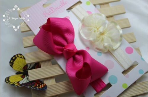 Set of 2-Newborn Baby Infant Kid Girl Bow Flower Headband Christening Photo Prop