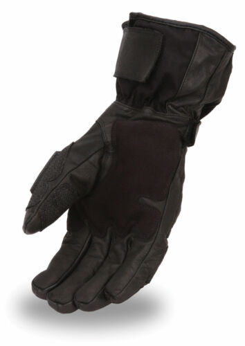 Mens Textile//Leather Waterproof Motorcycle Gauntlet Gloves Wiper Thumb FI138GL