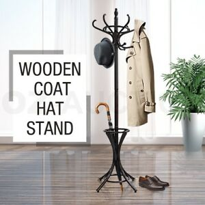 Tree-Style-12-Hooks-Hat-Coat-Clothes-Rack-Wooden-Umbrella-Stand-Walnut-Base-Ring