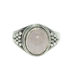 Sterling-Silber-ethno-asiatische-VINTAGE-STYLE-Rose-Quartz-Stone-Ring-Size-S-Geschenk