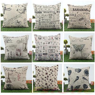 Home Decor 45x45cm Classic European Cotton Linen Cushion Cover Throw Pillow Case