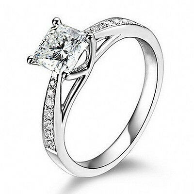 Sterling Silver Cubic Zirconia (CZ) Solitaire Promise Womens Engagement Ring