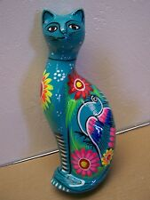Colorful, Tall, Sleek, Painted Ceramic Cat - Turquoise - Mexico