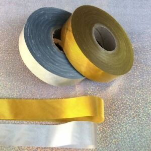 120M-Polyester-Bias-Binding-Tape-Crafts-Sewing-Trims-Gold-Silver-Color-30mm-Wide