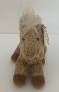 """TY Original Beanie Babay  6"""" Curly Beige Horse Named Barley 2006 With Tag"""