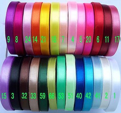 "10/25/91 Metres Satin Ribbon 9mm 3/8"" (26 colors) Single Face Craft DIY Sewing"