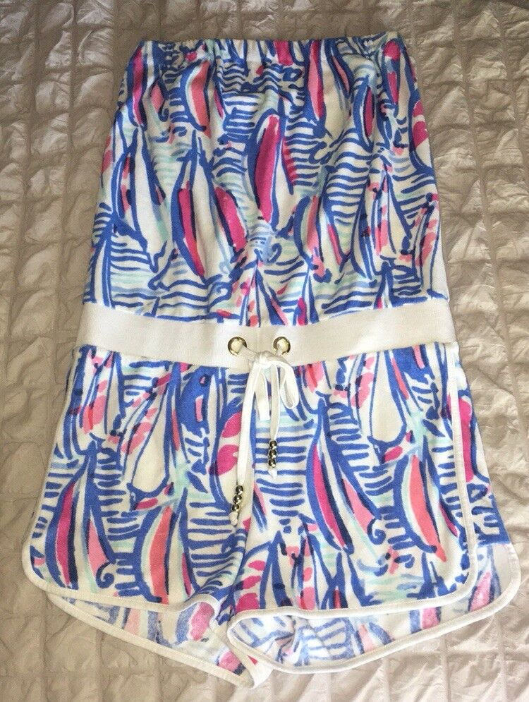 Lilly Pulitzer Red Right Return bluee White Sailboat Strapless Terry Romper Small
