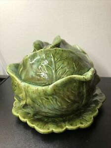 Vintage Holland Mold Ceramic Cabbage Soup Tureen Tray And Lid Ebay