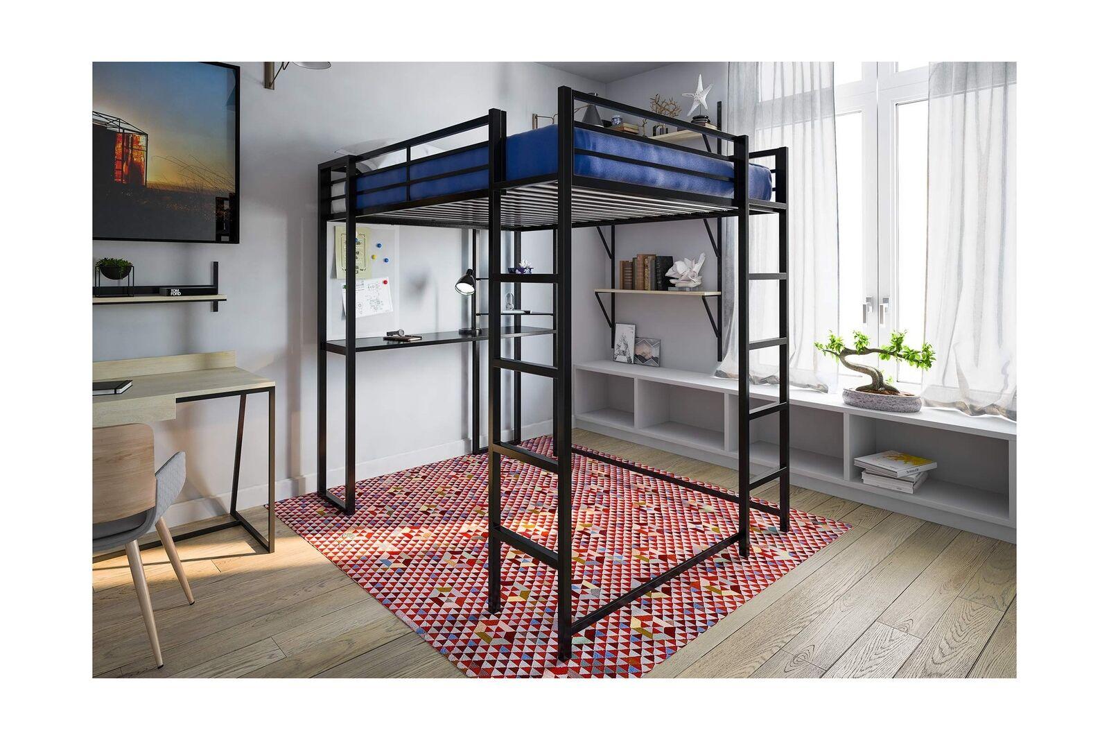 DHP loft lit cadre en métal grande taille avec bureau échelle noir meubles de chambre NEUF