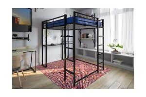 Dhp Loft Bed Metal Frame Full Size W Desk Ladder Black