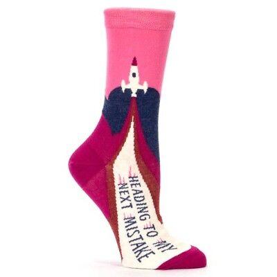 "Blue Q Women/'s Crew Socks /"" Heading To My Next Mistake /"" Novelty Gift 4-9"
