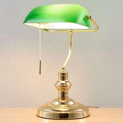 Bankerlampe Milenke Glas Grün Messing Poliert Lampenwelt Schreibtischlampe