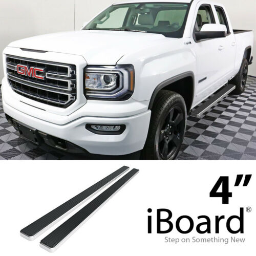 """iBoard Running Board 4/"""" Fit Silverado Sierra Double Cab 19-20"""