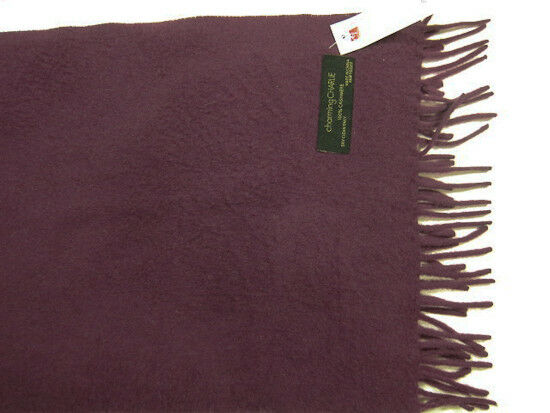 NWT Charming Charlie Solid Purple 100% Cashmere 61 Inch Scarf