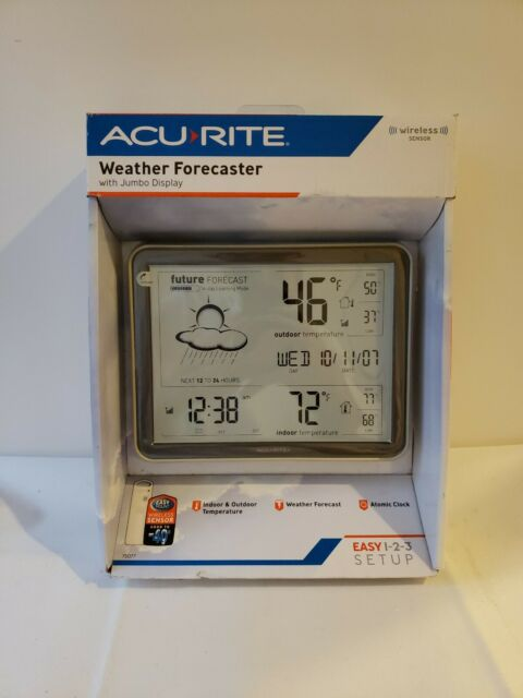 AcuRite Weather Forecaster w/ Jumbo Display & Atomic Clock 75077 Wireless Sensor