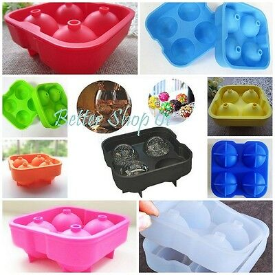 Ice Balls Maker Tray FOUR Large Sphere Molds Cube Whiskey Cocktails Bar Home