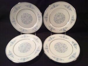 """Lot 4 Oxford Bone China By Lenox """"Bryn Mawr"""" Blue/Wht 7 5/8"""" Salad Plates - Mint"""