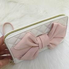 Betsey Johnson Travel wallet quilted blush Bow ziparound wristlet Oversized