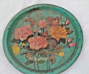 Old-VINTAGE-India-Iron-Tin-Serving-Round-Floral-Litho-Print-Tray-Collectible