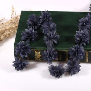 0,9 M Vintage Bleu Marine 3d Fleur Garniture En Dentelle Fabric Mariée Mariage Grand Assortiment