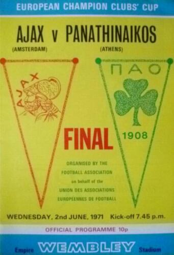 1971 EUROPEAN CUP FINAL AJAX v PANATHINAIKOS