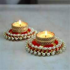 Home Decoration Set 2 Pcs Floral with Square Bangle Base New Year Gift Acarya Flower Handmade Reusable Colorful Tealight Candle Holders for Diwali Diya