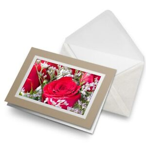 Greetings-Card-Biege-Pretty-Red-Rose-Flowers-Valentine-Love-16796