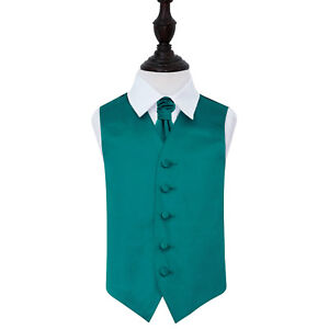DQT-Satin-Plain-Solid-Teal-Boys-Wedding-Waistcoat-amp-Cravat-Set