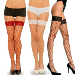 4-Colors-Women-039-s-Sexy-Fishnet-Lace-Thigh-High-Silk-Stockings-Long-Mesh-Socks-New