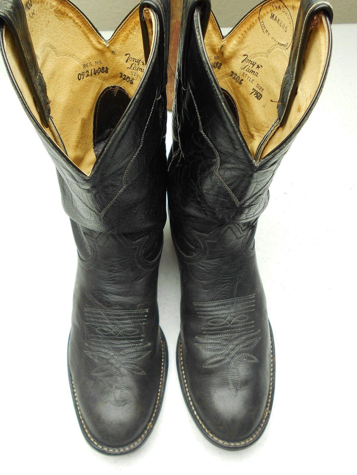 TULSA oklahoma DARK PEWTER grau TONY TONY TONY LAMA ROUND TOE WESTERN COWBOY Stiefel 7.5 M a5cf80