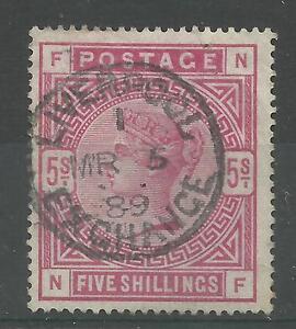 1883/91 Sg 180, 5/- Rose (NF) Fine used.