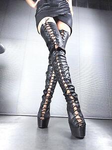Stiefel Giohel à Corset Nero en Bottes 43 Stivali plateforme stretch cuir wEtd4pq