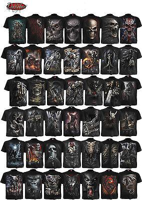 Spiral Direct or noir devant imprimé Noir T Shirt//tattoo//skull //// ROCK//TRIBAL//Top