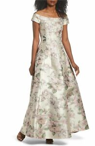 aa05fbd0a $368 Eliza J Floral Jacquard Off the Shoulder Ball gown LIGHT GREEN ...