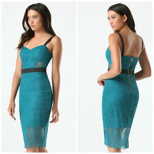 BEBE BLUE MIDI LACE BUSTIER CUT OUT DRESS NWT NEW $139 XSMALL XS 2
