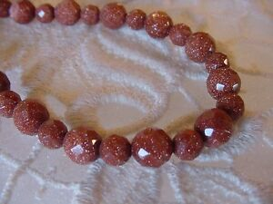 (v437-20) faceted Orange gold Goldstone 20 Faceted Beaded Necklace JEWELRY