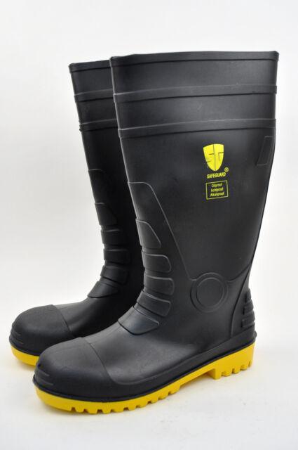 Men's Black Rain Boots Work & Safety Shoes Rubber Acidproof Alkaliproof Medium