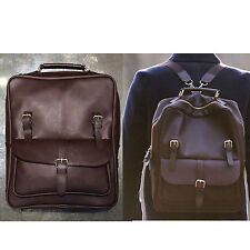 Korea New Men Women Rusi Backpack School Travel Business Bag Faux Leather Brown